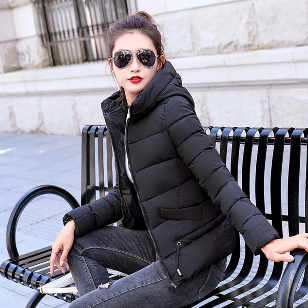 Winter Jacket women Plus Size Womens Parkas Thicken Outerwear solid hooded Coats Short Female Slim Cotton padded basic tops 2018