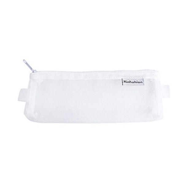 Mesh Zipper Pen Pencil Case Makeup Cosmetic Storage Bags Pouch Transparent AU~