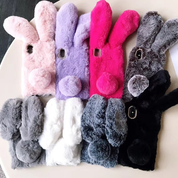 Rabbit Fur Case For iPhone 7 8 Plus X 12 Colors Furry Soft TPU Phone Cover Lovely Bunny Phone Cases Plush Cover OOA6030
