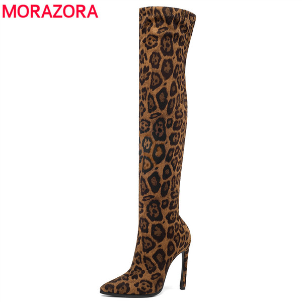 MORAZORA 2020 brand Leopard stretch boots women stiletto high heels over the knee boots for women sexy thigh high female