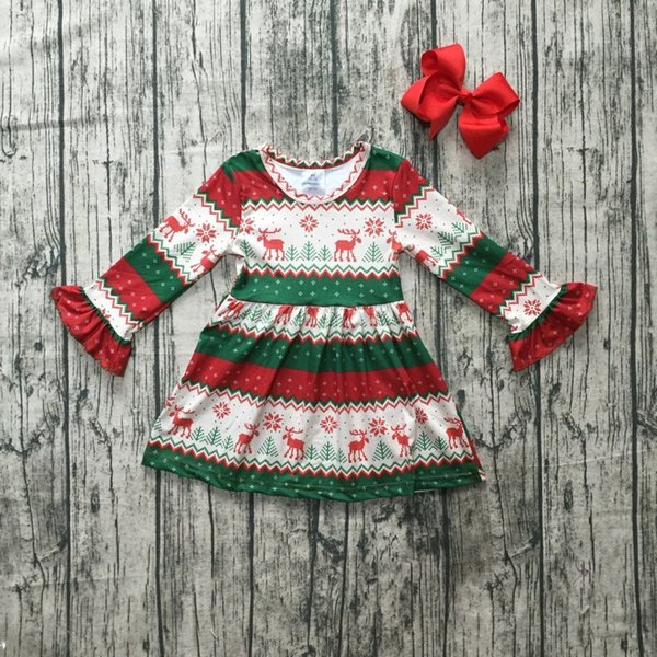 Noël filles vêtements pour enfants bébé coton automne / hiver Aztec renne manches longues manchettes robe de soie lait match boutique