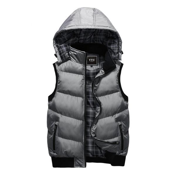 New Winter Hooded Vest Men Hat Detachable Warm Sleeveless Jackets Mens High Quality Casual Male Vest Coat Homme Plus Size M-5XL T5190613