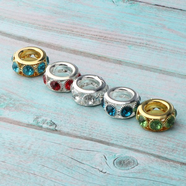 best selling Pack of 5pcs Antique Dreadlock Rings Cuffs Crystal Rhinestone Hair Braiding Decoration Beads Charms for Bracelet Jewelry Making