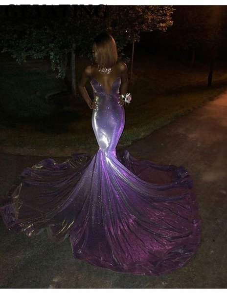 Glitter Longo Sereia Preta Menina Vestidos de Baile 2019 Fora Do Ombro Do Sorte Trem Tribunal Roxo Lantejoula Africano Evening Vestido Formal Y19042701