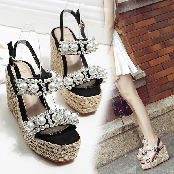 Hot2019 Xiachaogao Женская обувь Фланец Водонепроницаемая платформа грубая выдалбливают Рим с сандалиями
