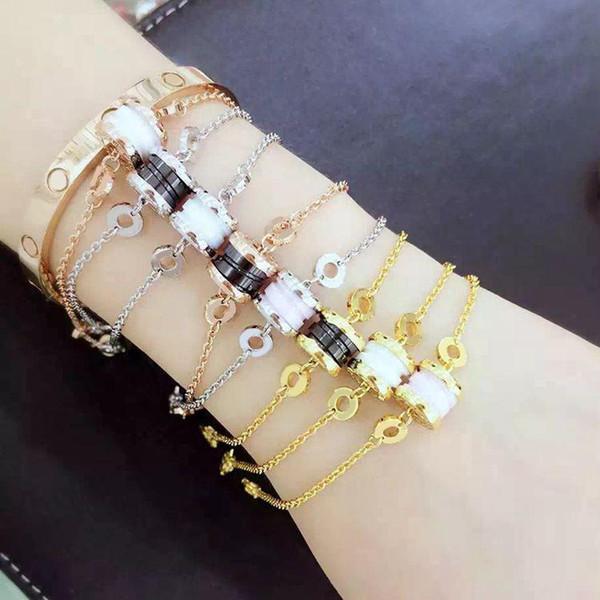 Bracelet en acier titane 316L titane noir et blanc avec chaîne à trois couleurs et fermoir mousqueton pour femme et homme en 20.5cm