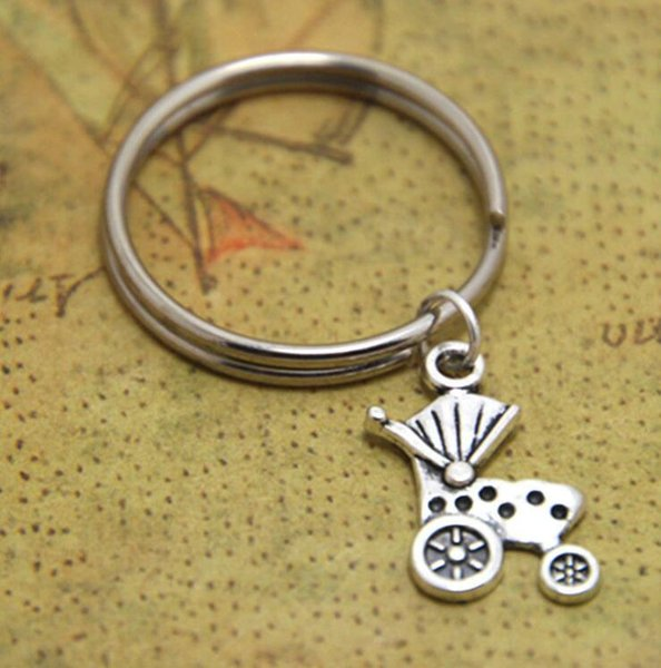 Hot Sale Ancient Silver Camper Trailer Baby Carriage Charm Keychain Keyring Fashion Women Men Creativity Jewelry Best Friend Holiday Gift