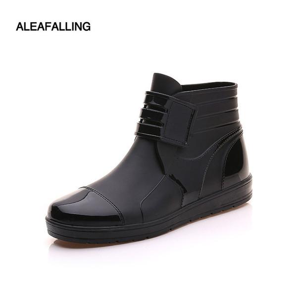 ПВХ водонепроницаемый дождь сапоги водонепроницаемый квартира с обувь мужчины дождь унисекс воды резиновые ботильоны пряжки botas m014