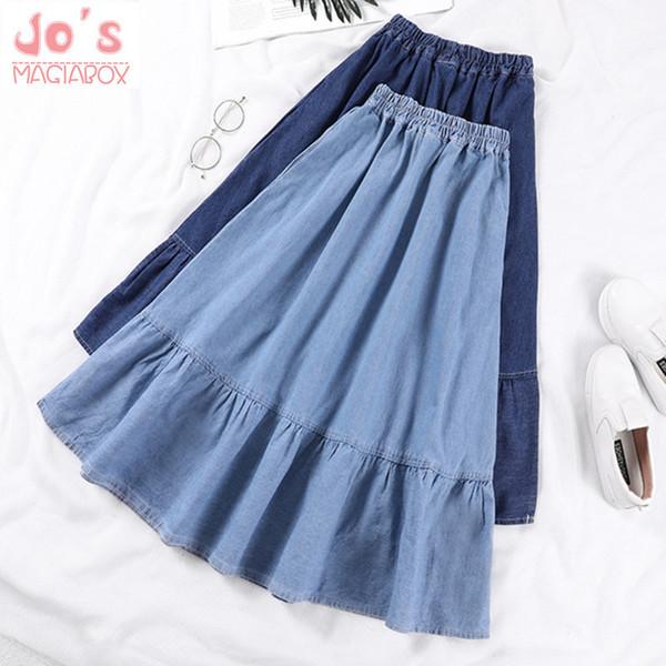 Джинсовые юбки женщины сплошной цвет длинные весна лето a-line Высокая Талия женская длинная юбка плюс размер случайные карманы S-3xl Y19043002