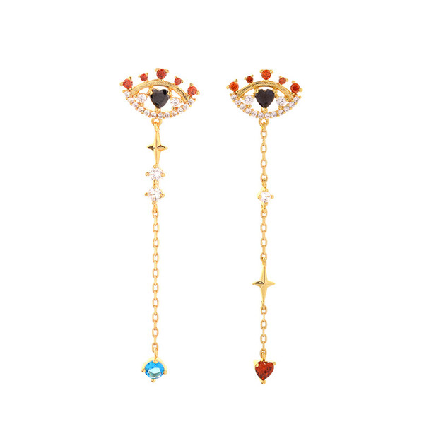 Slanw Creative evil eye ear stud female personality heart shaped asymmetrical earrings ins 925 silver post pin drop earring me00225