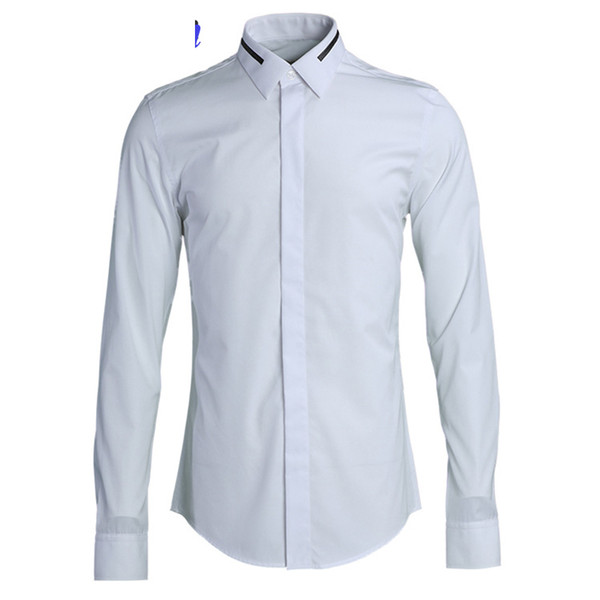 Brand Simple Design Business Male Dress Shirt 2019 New Solid Long Sleeve Slim Casual Camisas High Quality 80% Cotton Shirts Men