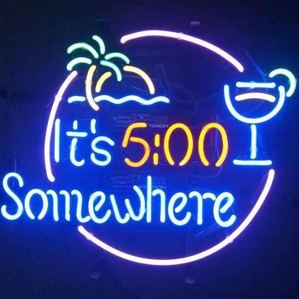 Son 500 Somewhere Il 05:00 de Neon Sign lumière réel verre au néon Ampoules Tube HandMade Beer Bar Shop Logo Pub magasin Club de Garage Boîte de nuit 17 * 14