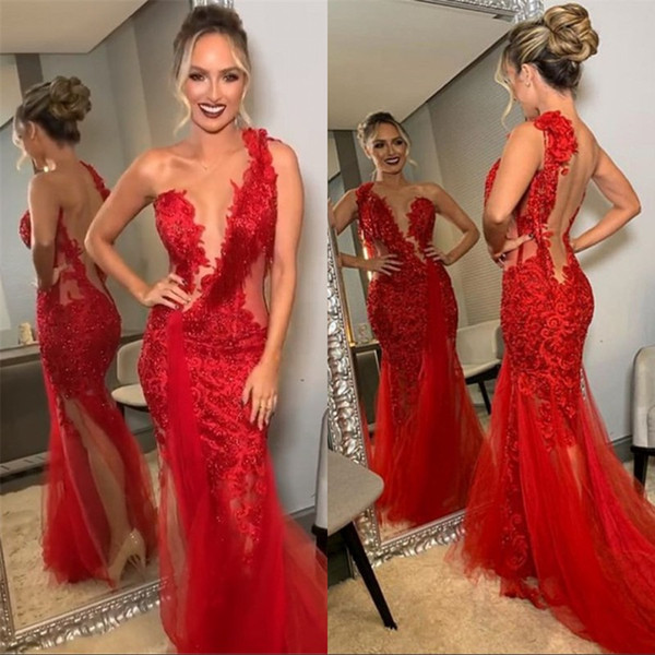 Sexy Split Red Lace Perline Mermaid Prom Party Dress Una spalla formale Backless Red Carpet Evening Celebrity Gowns Custom Made