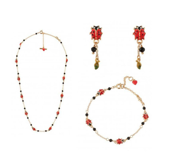 French new small ladybug suit fashion earrings leaves earrings simple bracelet