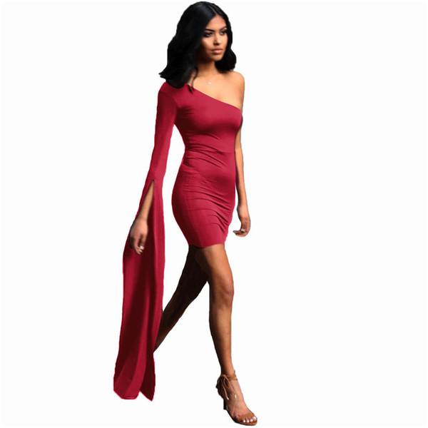 Frauen party dress 2019 neue schulter langarm elegante bodycon kleider sexy club wear einfarbig verband dress vestidos