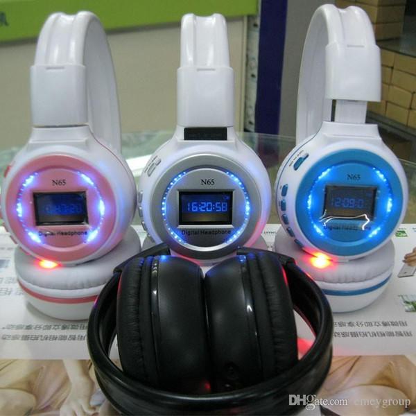 Professional Wireless Bluetooth Headphone N65 with LCD screen support Micro SD card music Recharging Headband Earphone