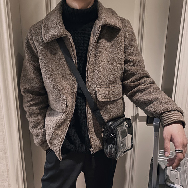 2019 autumn and winter new korean version of lamb plush jacket fashion casual solid color lapel cotton coat coffee m-3xl