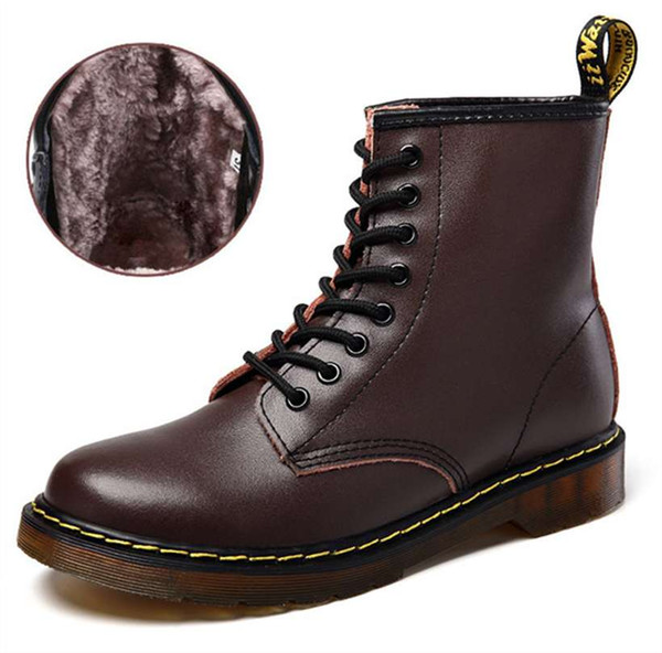 new Men's Boots Martens Leather Winter Warm Shoes Motorcycle Mens Ankle Boot Doc Martins Autumn Men Oxfords Boots