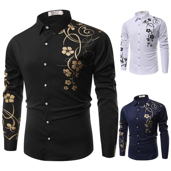 Nuevo 2019 Primavera Hombres Camisas casuales Moda de manga larga de la marca impresa Button-Up formal de negocios de lunares Floral hombres camisa de vestir