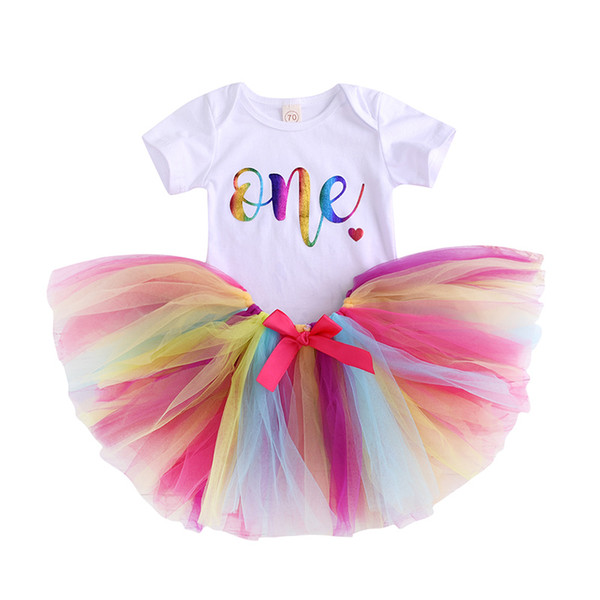 Baby Rainbow TUTU Skirt + 2019 Ins Cute Baby girl clothes Outfits ONE letters Bodysuit Romper+ Colorful Bow Gold Waist 2pcs/set