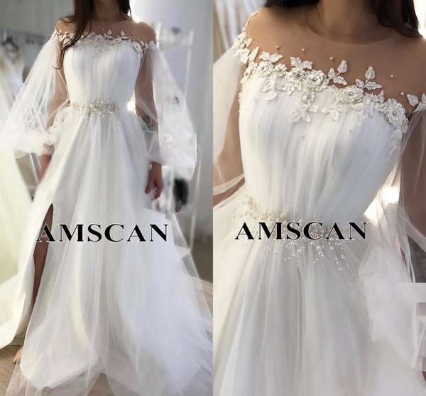White Appliques Tulle Long Sleeves Evening Dresses With Pearls Sash 2020 Sheer Neck Formal Party Gowns Sexy Side Slit Celebrity Prom Dresses
