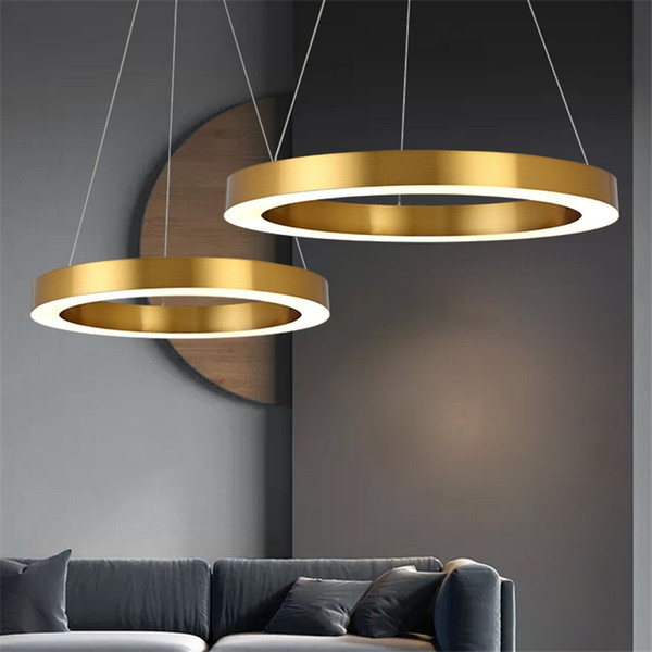 Post Modern LED Pendant Lights Round Circular Gold Ring Hanging Lamp Dining Room Living Room Lustre metal Pendant Lamp