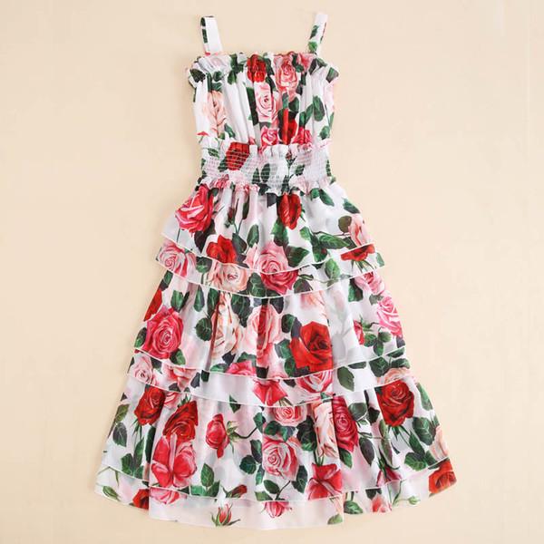 Kadın Kızlar Gül Çiçek Yaz Elbise 2019 Yeni Spagetti Kayışı Ruffles Katmanlı Kek Şifon Uzun Midi Sevimli Elbiseler