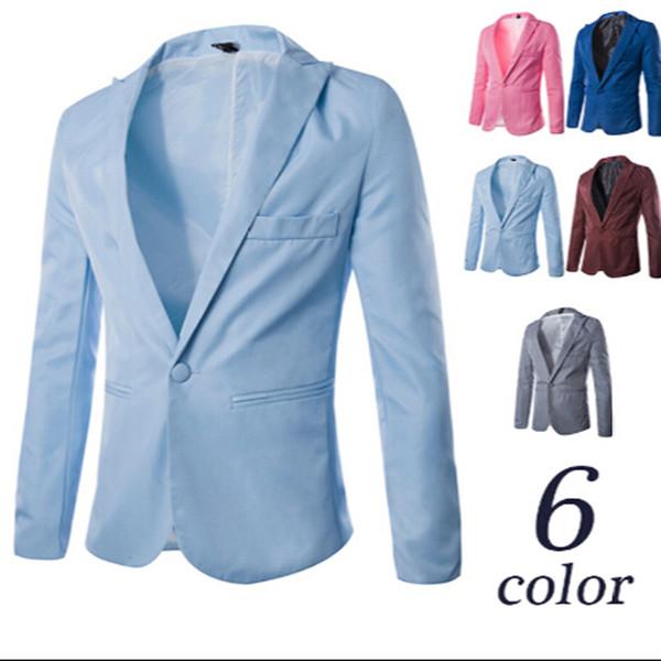 Moda Hot Men Terno Blazers One Button Design Casual Vestido Queda Casaco Doce Cor frete grátis