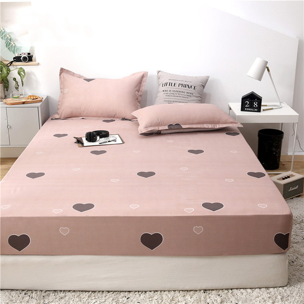 Love Heart Fitted Sheet Double Single Size Mattress Cover Bed Sheets On Elastic Band With Rubber Sheet Bed Linen