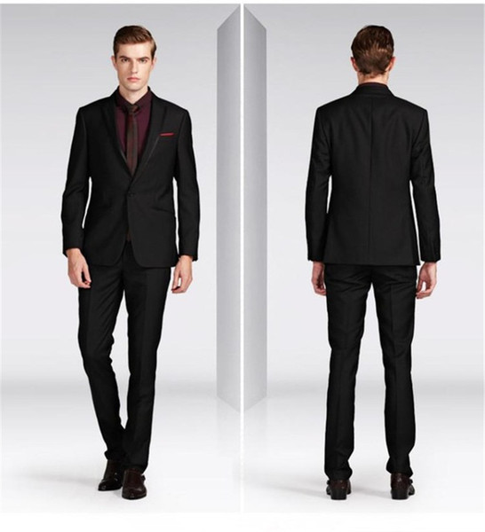 Custom made Black grey charcoal Groom Tuxedos costume homme Best Man Groomsmen Prom Suits Men Wedding Suits(Jacket+Pants+Tie)