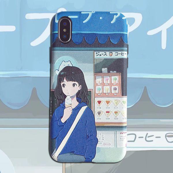 Original Japanese Girl Illustration Relief Apple 7/8plus Soft Phone Case iPhone Xs Max