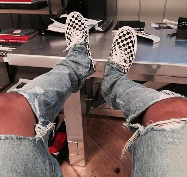 New Yeezus Ripped Korean Hip Hop Fashion Pants Cool Mens Urban Clothing Jumpsuit Men€s Jeans Kanye West Slp Fear Of God