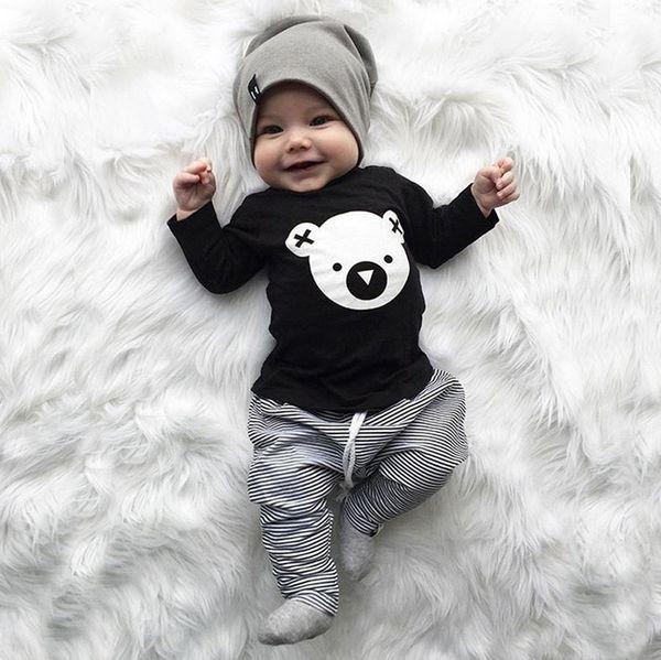 good quality Children clothing set Cartoon Koala T-Shirt Tops +Striped Pants Baby Boy Clothes newborn baby boy clothes roupa infantil