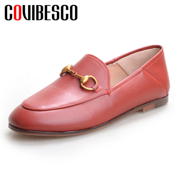 COVIBESCO 2019 Classique Bout Rond Shallow Slipow Sur Les Femmes Appartements En Cuir Véritable Flok Mocassins Chaussures Simples Femme Bureau Chaussures De Base