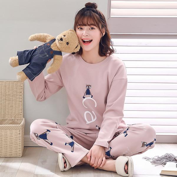 Zhimao pyjama femmes printemps et en automne coton service à domicile à manches longues en coton doux coréen bande dessinée dames de service à domicile convient à une génération