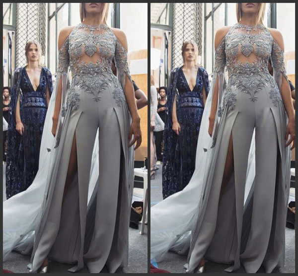 2019 Sheer Lace Appliques Prom Suit Beading Sequined Front Split Sexy Women Jumpsuit Celebrity Gown Long Sleeve Evening Pageant Party Gowns