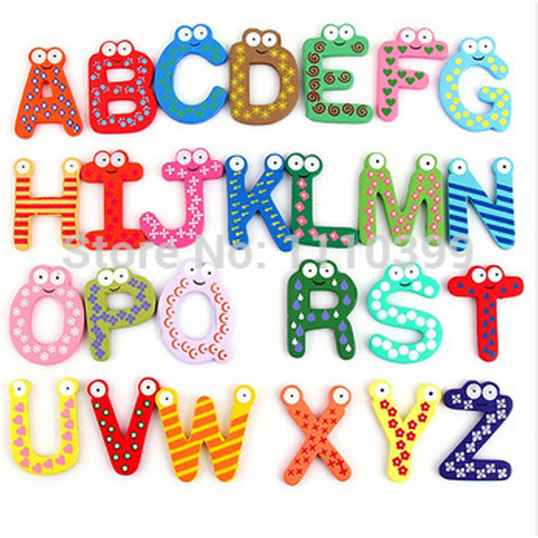 26pcs/set Montessori Toys Children Early Educational Learning Puzzle Wooden Toys Letters A-Z Alphabet Fridge Magnet Toys