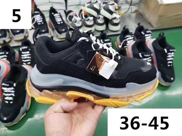 Zapatos viejos del papá verde Triple S, zapatillas de deporte del cuero-top Triple-S pulimentado y malla de las zapatillas de deporte para las mujeres y zapatillas de deporte para hombre Causal T19