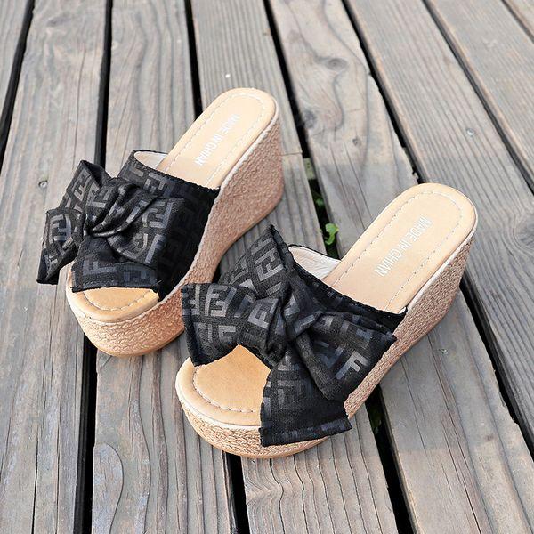 2019 Yaz Yeni Kadın Slaytlar Yüksek Topuklu Sevimli Terlik Papyon Kama Sandalet Platformu Terlik Ayakkabı Üzerinde Kayma Kadın