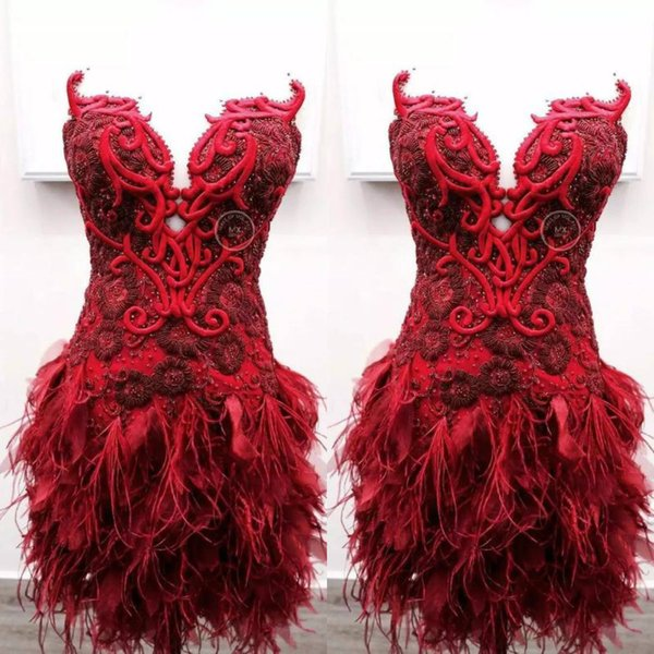 2020 Red Short Evening Dresses Sweetheart Lace Feather Embroidery Mini Prom Dress Party Wear Custom Made Beaded Cocktail Gowns
