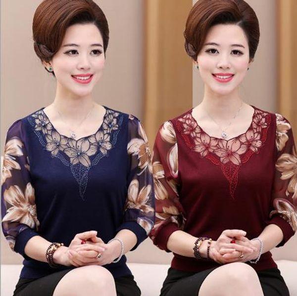 2019 лето выдалбливают кружева женщины блузка рубашка пожилые женщины Половина рукава цветок печатных видеть сквозь o шеи женские топы LJ594