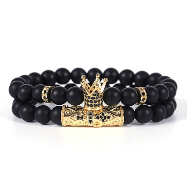 2pcs/set CZ Crown Bracelet  Bracelet Jewelry Men Pulseira Masculina Feminina Bileklik Pulseras Mujer Moda Punk Friends