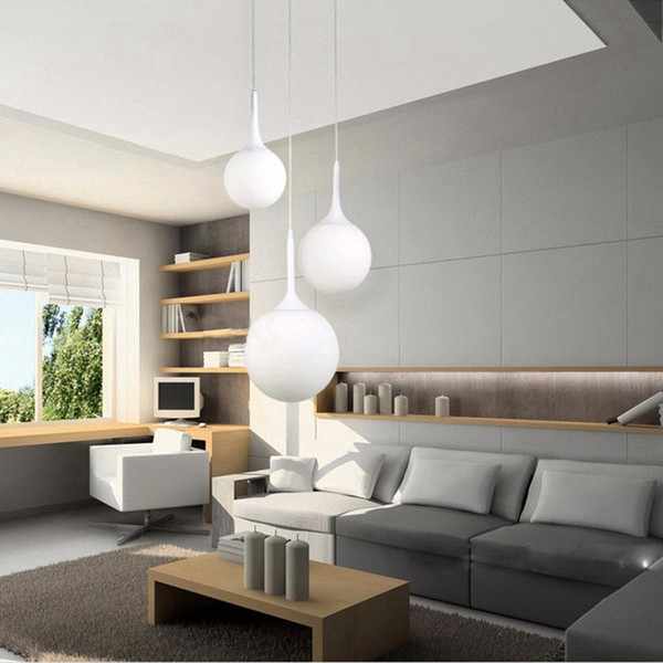 Loft simple milk white glass ball pendant light LED E27 modern hanging lamp with 6 size for living room bedroom lobby hotel shop