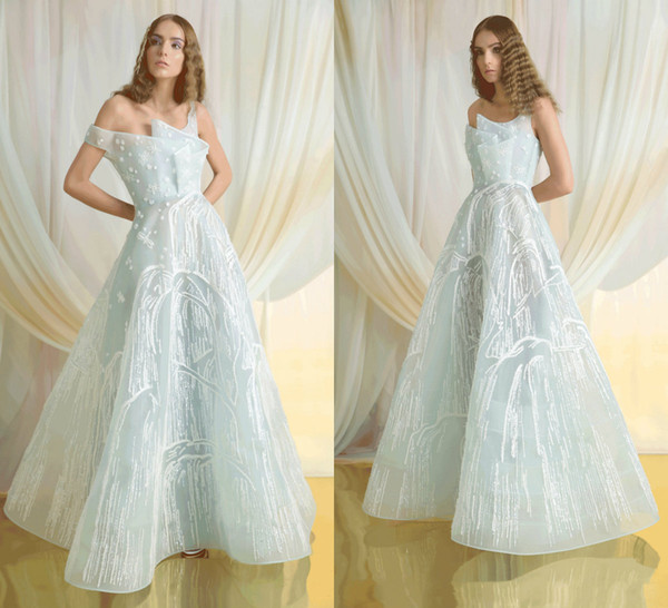 2019 Azzi&Osta Sage Prom Dresses Tulle Off The Shoulder A Line Floor Length Evening Dress Embroidery Custom Made Arabic Formal Party Gowns