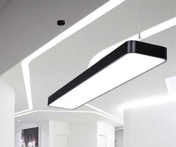 Pendurado fio de alumínio lâmpada do teto escritório bar luzes 4ft teto retangular luz pingente moderno levou candelabro luminária para escritório LFA