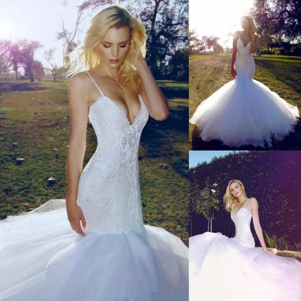 2019 Charming Ivory Mermaid Wedding Dresses Lace Applique Sexy Spaghetti Straps Fishtail Trumpet Beach Boho Wedding Dress Bridal Gowns Cheap Bridal