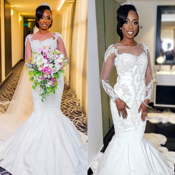 2020 African Black Girl Mermaid Wedding Dresses Jewel Long Sleeves Lace Appliques Crystal Beads Court Train Custom Made Formal Bridal Gowns