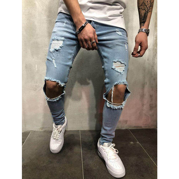 Fashion Streetwear Men's Hole Jeans Vintage Blue Gray Color Skinny Destroyed Ripped Jeans Broken Punk Pants Homme Hip Hop Jeans Men