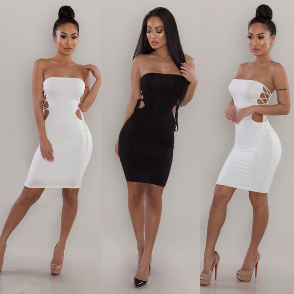 2018 Hot Sexy Dress with straps Sleeveless bandage dresses Strapless night club dresses black white red Casual Bodycon Dress free shipping