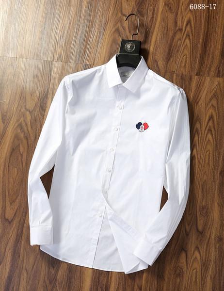 # 6984 Классический Мужчины Рубашки Бизнес Рубашка Мода Мужской рубашки с длинным рукавом Medusa Повседневная рубашка с французскими Запонки Tops Оксфорд рубашка